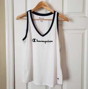 NWT Champion White Navy Sleeveless V-Neck Top Med